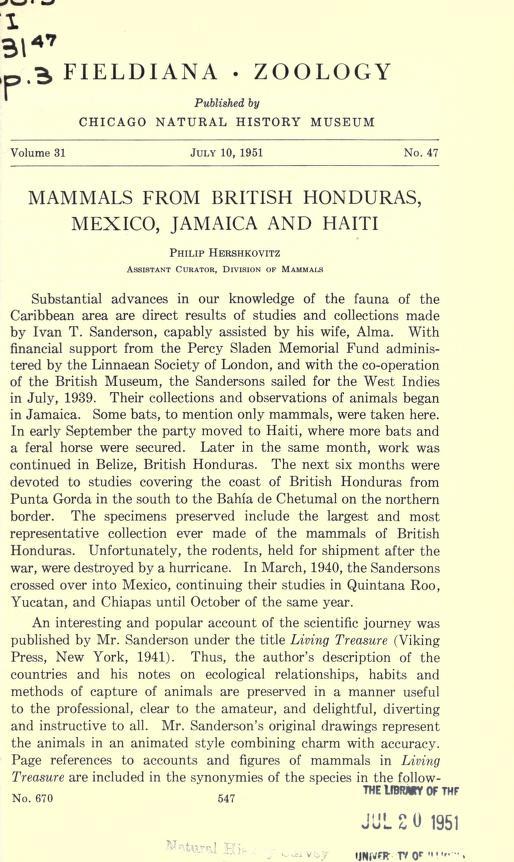 Mammals from British Honduras, Mexico, Jamaica, and Haiti