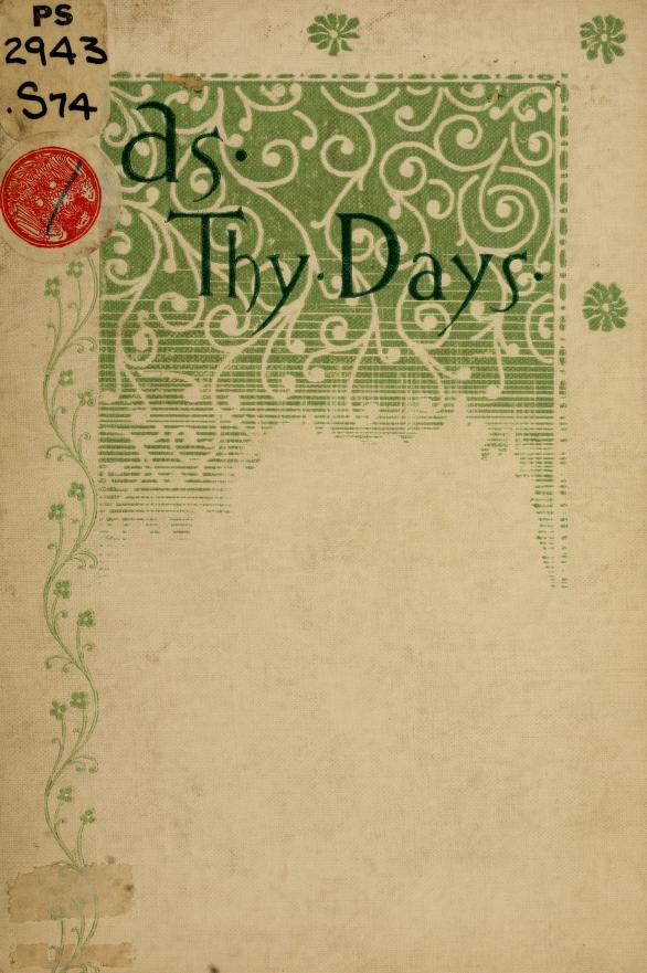 """Mary K. A. [from old catalog] Stone - """"As thy days"""" and other verses"""