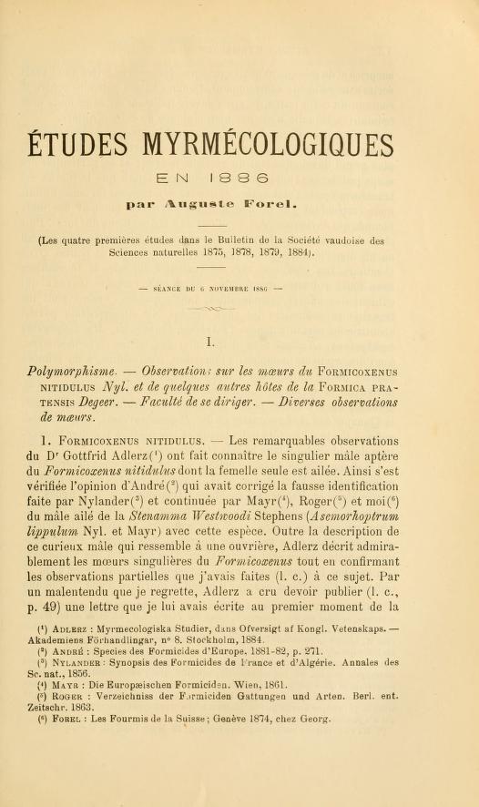 Études myrmécologiques en 1886
