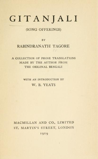 Gitanjali- A Collection Of Prose Translations By Rabindranath Tagore