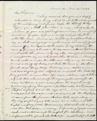 [Letter to] Mrs. Chapman by Frances H. Drake