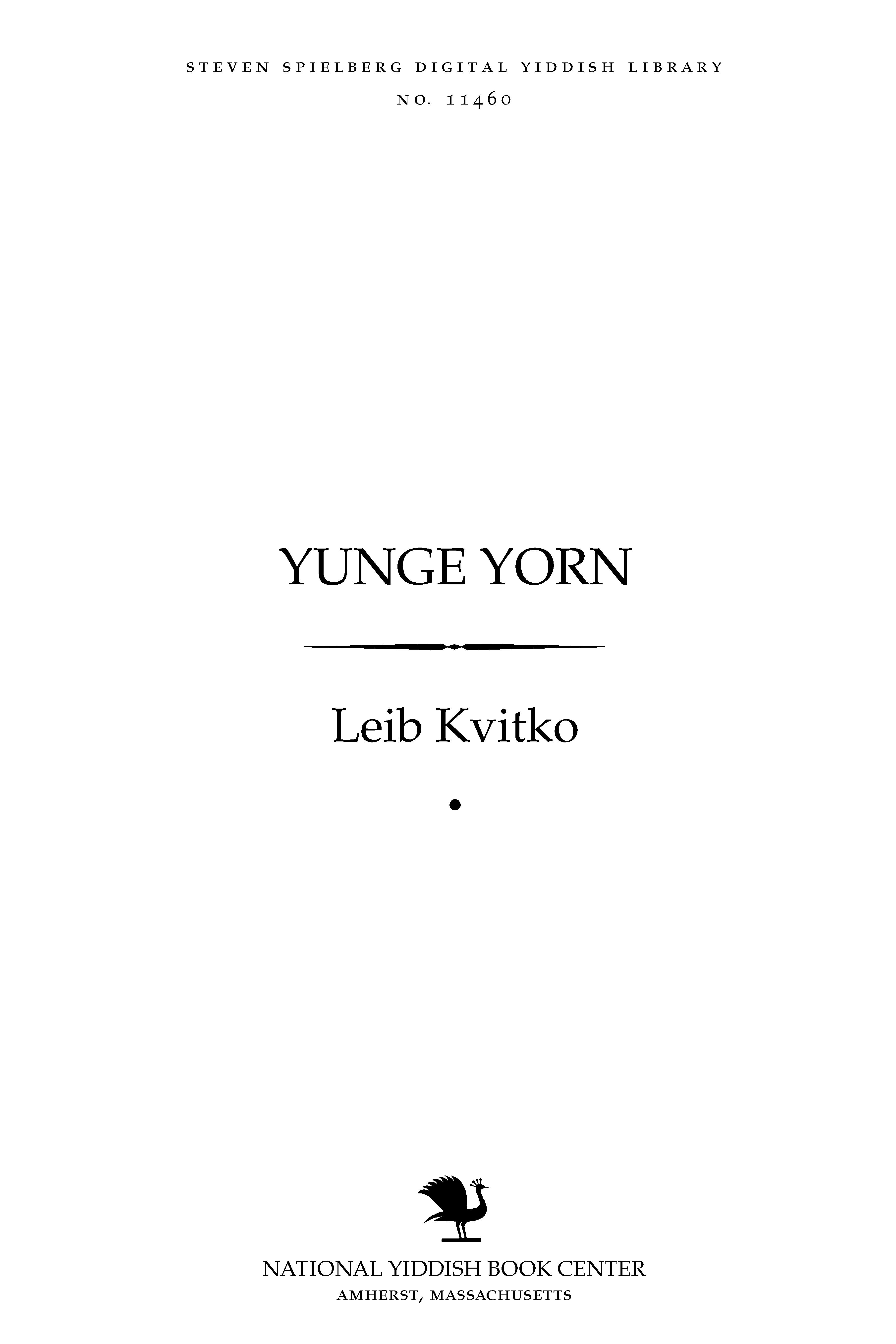 Cover of: Yunge yorn