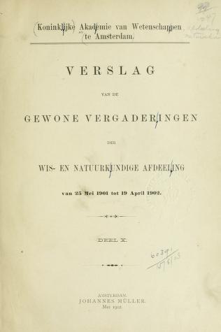 Cover of: Verslag van de gewone vergaderingen | Akademie van Wetenschappen, Amsterdam.  Afdeeling voor de Wis- en Natuurkundige Wetenschappen